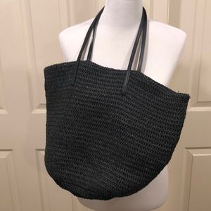 J Crew black straw beach tote